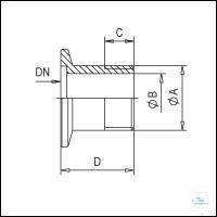 4Panašios prekės Threaded Connector KF-Inch, Stainless Steel Type DN 10 KF, A G1/4 mm, B 9 mm,...