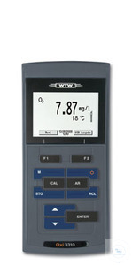 Oxi 3310 Professional, field proven DO meter with backlit graphic display for...
