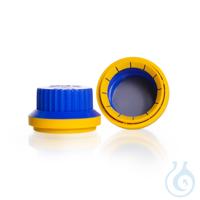 Originalitätsverschluss, GL 45, PP, blau/gelb mit PTFE Dichtung, für DURAN® Laborglasflaschen