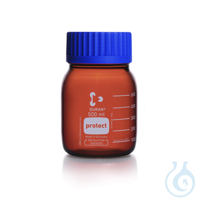DURAN® protect GLS 80 Weithalsflasche, braun, kunststoffummantelt, kompl. mit Kappe und...