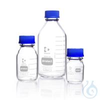 DURAN® protect, Laborflasche, kunststoff- ummantelt, GL 45, mit Schraubverschluss und Ausgießring...