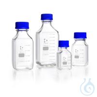 DURAN® GL 45 Laborglasflasche, vierkant, klar, mit Schraubverschluss und Ausgießring (PP), 500 ml