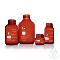 DURAN® GLS 80 Laborglasflasche, weithals, braun, ohne Schraubverschluss und Ausgießring, 500 ml