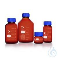 DURAN® GLS 80 Laborglasflasche, weithals, braun, mit Schraubverschluss und Ausgießring (PP), 500 ml