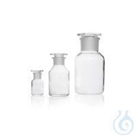 Weithals-Standflasche, NS 45/40, klar, mit Stopfen, Kalk-Soda-Glas, 500 ml