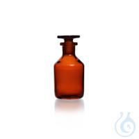 Enghals-Standflasche, NS 29/32, braun, mit Stopfen, Kalk-Soda-Glas, 1000 ml