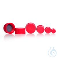 Schraubverschluss, GL 45, PBT, rot, mit PTFE beschicht. Dichtung, für DURAN® Laborglasflaschen
