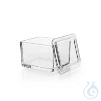 Glaskasten, zur Aufnahme des Färbegestells, 108 x 90 x 70 mm, Kalk-Soda-Glas