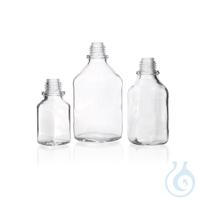 Vierkant-Schraubflasche, enghals, klar, 500 ml, ohne Staubschutzkappe und Ausgießring,...