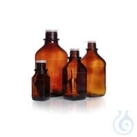 Vierkant-Schraubflasche, enghals, braun, 500 ml, mit Staubschutzkappe und Ausgießring,...