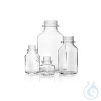 Vierkant-Schraubflasche, weithals, klar, 100 ml, ohne Ausgießring u. Staubschutzkappe,...