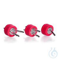 Sistema de conexión GL 45 DURAN®, tapa roscada GL 45 en PBT rojo, con un toma...