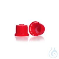 Sicherheitsverschlüsse, GL 45 H, PP, rot, mit Ventil, für Vierkant- Schraubflaschen, enghalsig