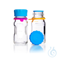 DURAN® YOUTILITY Flasche, GL45, klar, mit Schraubverschluss, Ausgiessring und Bottle Tag, 125 ml