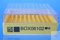 Cryobox 10*10 PC gelb bis -196°C Gasphase, 2D Barcode Innenraster 10*10 PC fest eingebaut...