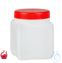 Vierkant-Weithalsflasche 1 Ltr. m. rotem Schraubverschluss, HDPE