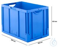 Euro Box, PP, LTB 6420, 82,3 L, blau Euro Box Serie LTB 6420, aus PP, Inhalt 82,3 l, ohne Deckel,...