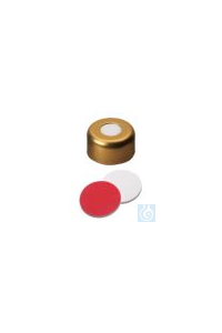 Bördelkappen N11, GOLD lackiert mit Loch, Silikon weiß/PTFE Rot, 1,3 mm Bördelkappen N11, GOLD...