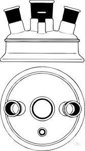Lid, flat flange, DN 100, lange outer-Ø: 138 mm, Center neck ST 29/32, side neck angled 3 x ST 29/32