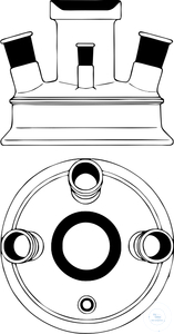 Lids, flat flange, DN 100, flange outer-Ø: 138 mm, center neck ST 29/32, one parallel side neck...