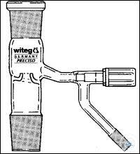 DISTILLING LINK, ACC. TO DR. HOWORKA, WITH PTFE VALVE STOPCOCK, SOCKET ST 14/23, CONE ST 14/23,...