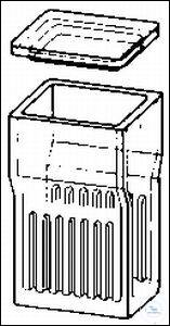 Staining jars, Hellendahl, 40 x 57 mm, H. 105 mm, for 16 slides 76 x 26 mm