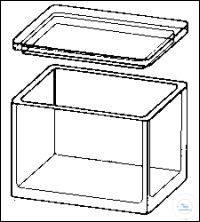 Staining glass box, with groove at cover to hold the staining support, 106 x 86 x 77 mm