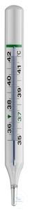 Clinical thermometer, oval form, enclosed white Chromalux-scale, +36 to +42°C