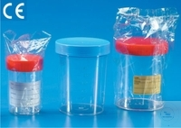 Specimen and collecting containers, 200 ml, PS, with screw cap, Ø 66 mm, height: 85,5 mm, Case =...