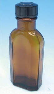 Culture bottles, Meplat, 1000 ml, amber glass, with DIN-screw thread, complete with screw cap,...