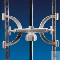 Burette holder, PP, double, can be fixed to stands of Ø 8-14 mm, Pack = 5 pcs.