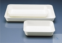 Instrument trays, 290 x 160 mm, height 60 mm, white, flat, made of MF