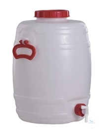 CARBOYS, PE, 30 L, ROUND, Ø 330 MM, HEIGHT 460 MM, WITH TAP, WITH STOPCOCK, WITH SCREW-CAP