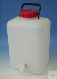 CARBOYS, 5000 ML, PP, WITH TAP, TETRAGONAL, WIDE MOUTHED, WITH SCREW-CAP