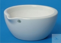 Mortars, porcelain, 730 ml, Ø: 183 mm, height: 90 mm, with spout, unglazed