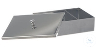 INSTRUMENT TRAY, MADE OF 18/8 STAINLESS STEEL, WITH OVERLAPPING KNOBCOVER, TARN, 200 X 100 X 50 MM