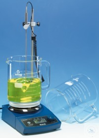 Safety stirring beaker, with handle, 2000 ml, Ø 145 mm, plane bottom and...