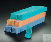 Embedding Cassettes with integral lid, colour white, in stacks Embedding...