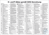 Information board, H/P statements Information board with all H and P statements according to GHS....
