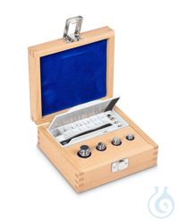 E1 1 mg - 50 g Set of weights, in wooden box, Stainless steel Weight set, cylindrical, polished...