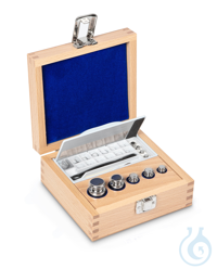 E1 1 mg - 100 g Set of weights, in wooden box, Stainless steel Weight set, cylindrical, polished...