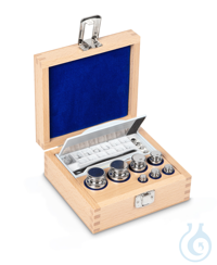 E1 1 mg - 200 g Set of weights, in wooden box, Stainless steel Weight set, cylindrical, polished...