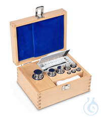 E1 1 mg - 500 g Set of weights, in wooden box, Stainless steel Weight set, cylindrical, polished...