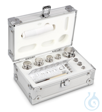 E1 1 mg - 500 g Set of weights, in aluminium case, Stainless steel Weight set, cylindrical,...