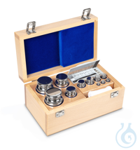 E1 1 mg - 2 kg Set of weights, in wooden box, Stainless steel Weight set, cylindrical, polished...