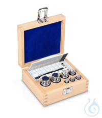 E1 1 g - 200 g Set of weights, in wooden box, Stainless steel Weight set, cylindrical, polished...
