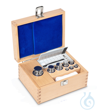 E1 1 g - 500 g Set of weights, in wooden box, Stainless steel Weight set, cylindrical, polished...