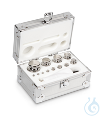 E1 1 g - 500 g Set of weights, in aluminium case, Stainless steel Weight set, cylindrical,...