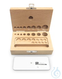 Wooden weight box, 1 g - 200 g, Beech for F2 + M1 + M2 + M3, Cylindrical KERN...