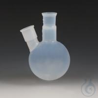 Round Bottom Flasks with Two Ground Joint Necks PFA Transparent, non-porous, cen Round Bottom...